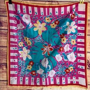 Vintage Cotton Bright Floral Print Square Scarf